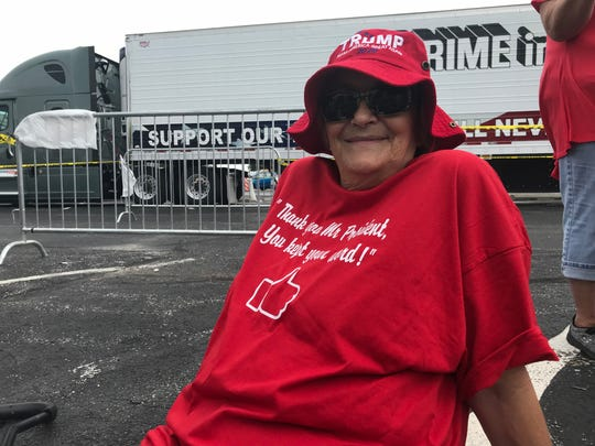 Phyllis McCormick of Forsyth came to the Trump rally by herself. Her husband, a Vietnam War veteran, died in March.