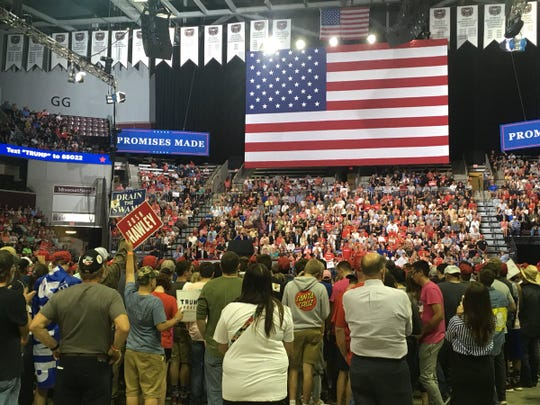 The scene inside JQH Arena ahead of President Trump speaking on Friday, Sept. 21, 2018.