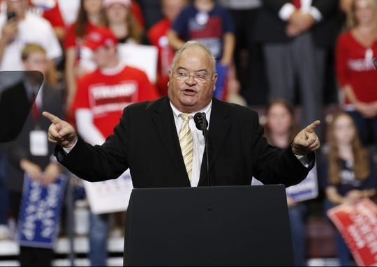 Rep. Billy Long addresses the crowd before President Trump's speech Friday, Sept. 21, 2018 at JQH Arena in Springfield.
