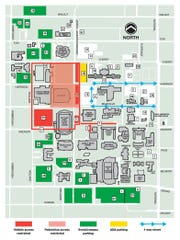 MSU released a map of street and parking lot closures associated with President Trump's visit to JQH Arena.