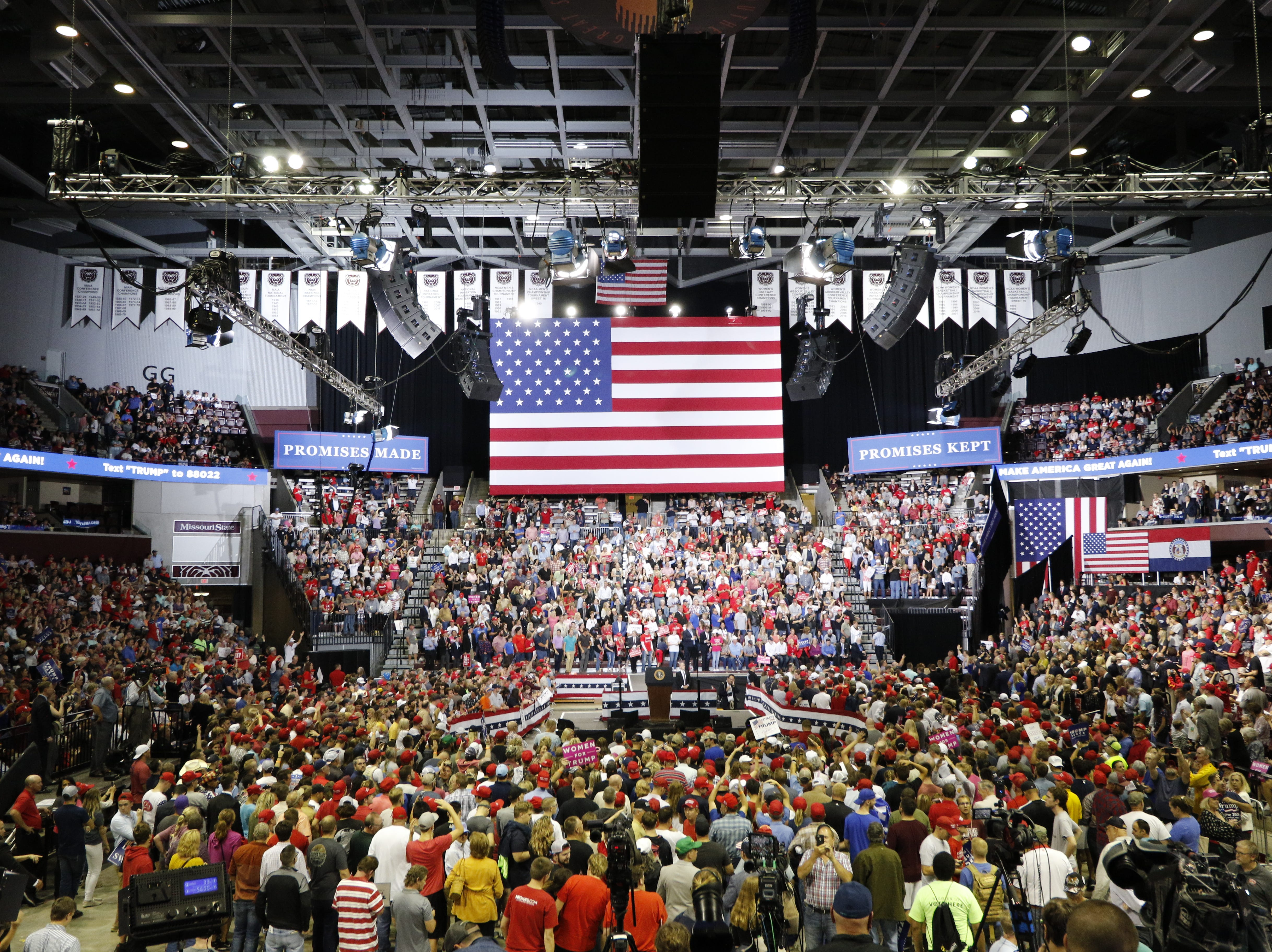 The crowd waits as President Trump prepares to speak Friday, Sept. 21, 2018 at JQH Arena in Springfield.