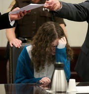 Natalie Keepers reacts to being found guilty by a jury of being an accessory before the fact for the 2016 murder of Nicole Lovell in Christiansburg, Va., Thursday Sept. 20 2018.