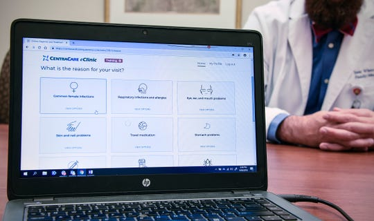 The screen shows some of the most common reasons for contacting a health care professional online Thursday, Sept. 20, with the CentraCare eClinic.