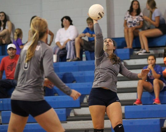 Aucilla's MacKenzie Wirick goes for a kill as Aucilla Christian plays at Maclay in a high school volleyball game on Thursday, Sept. 20, 2018.