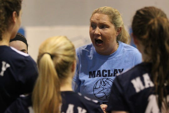 Maclay volleyball coach Erica Bunch talks to her team as Aucilla Christian plays at Maclay in a high school volleyball game on Thursday, Sept. 20, 2018.