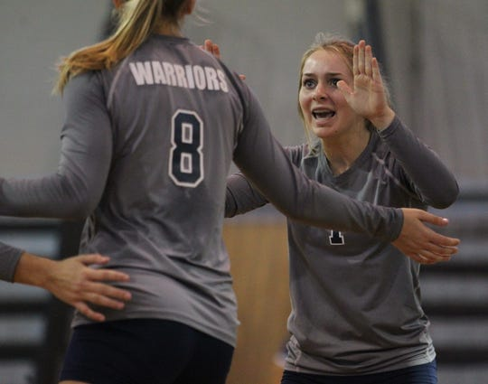 Aucilla Christian's Olivia Walton celebrates a point during a game against Maclay earlier in the year.