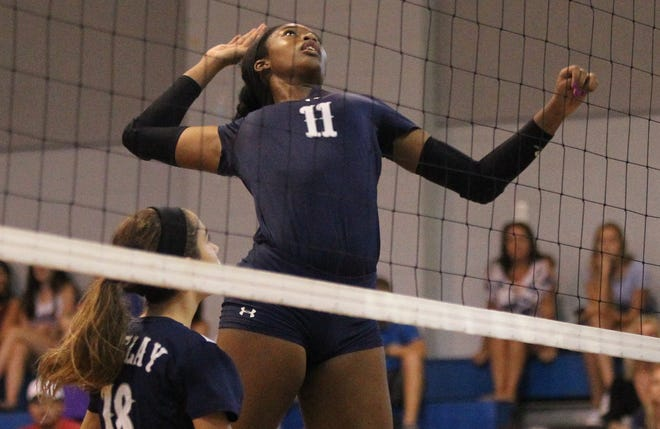 Maclay's Isabella Choice goes up for a kill as Aucilla Christian plays at Maclay in a high school volleyball game on Thursday, Sept. 20, 2018.
