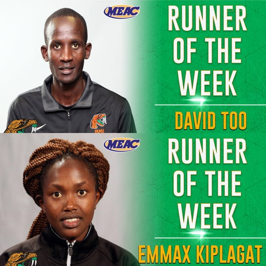 David Too and Emmax Kiplagat earned MEAC Runner of the Week honors. Too took individual gold in the Montevallo Falcon Classic. He won the 8K race with a time of 24:21.89. Kiplagat ran a 6K with a third-place time of 18:11.73.