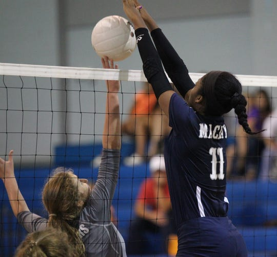 Maclay's Isabella Choice goes for a block against Aucilla Christian.