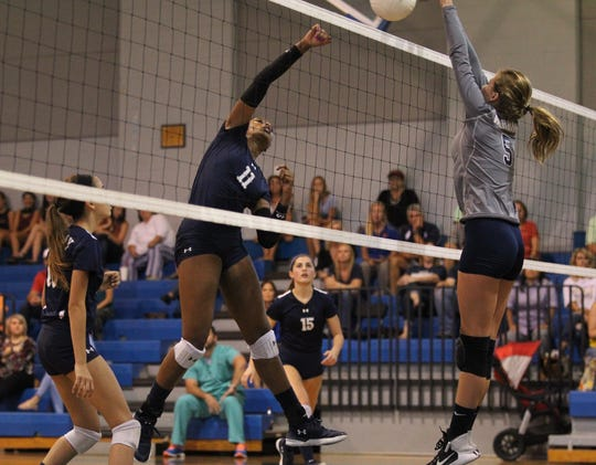 Maclay's Isabella Choice goes for a kill as Aucilla Christian plays at Maclay in a high school volleyball game on Thursday, Sept. 20, 2018.
