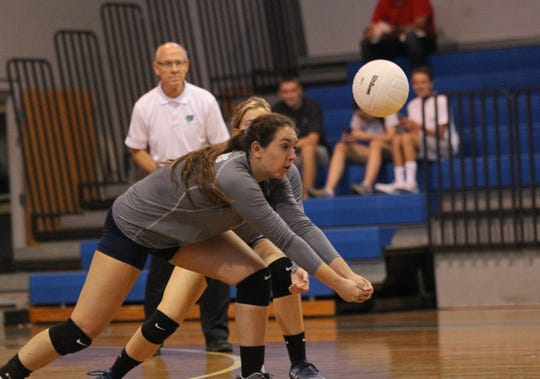 Aucilla's MacKenzie Wirick digs a ball as Aucilla Christian plays at Maclay in a high school volleyball game on Thursday, Sept. 20, 2018.