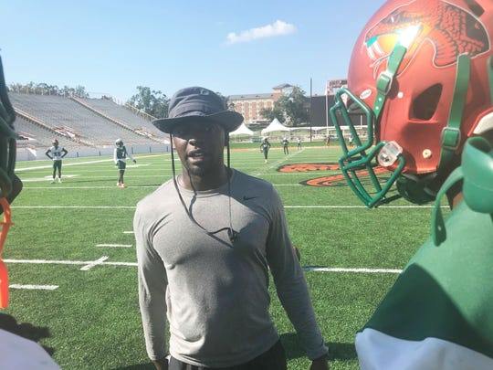 FAMU secondary Kenneth Gilstrap II breaks down coverage during practice.