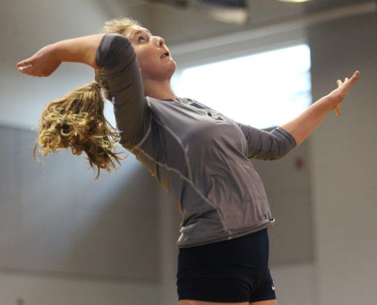Aucilla's Maddie Drawdy goes up for a kill as Aucilla Christian plays at Maclay in a high school volleyball game on Thursday, Sept. 20, 2018.