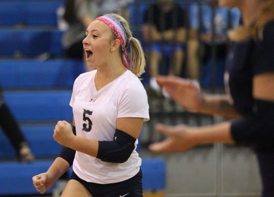Maclay's Addyson Lewis reacts to scoring a point as Aucilla Christian plays at Maclay in a high school volleyball game on Thursday, Sept. 20, 2018.