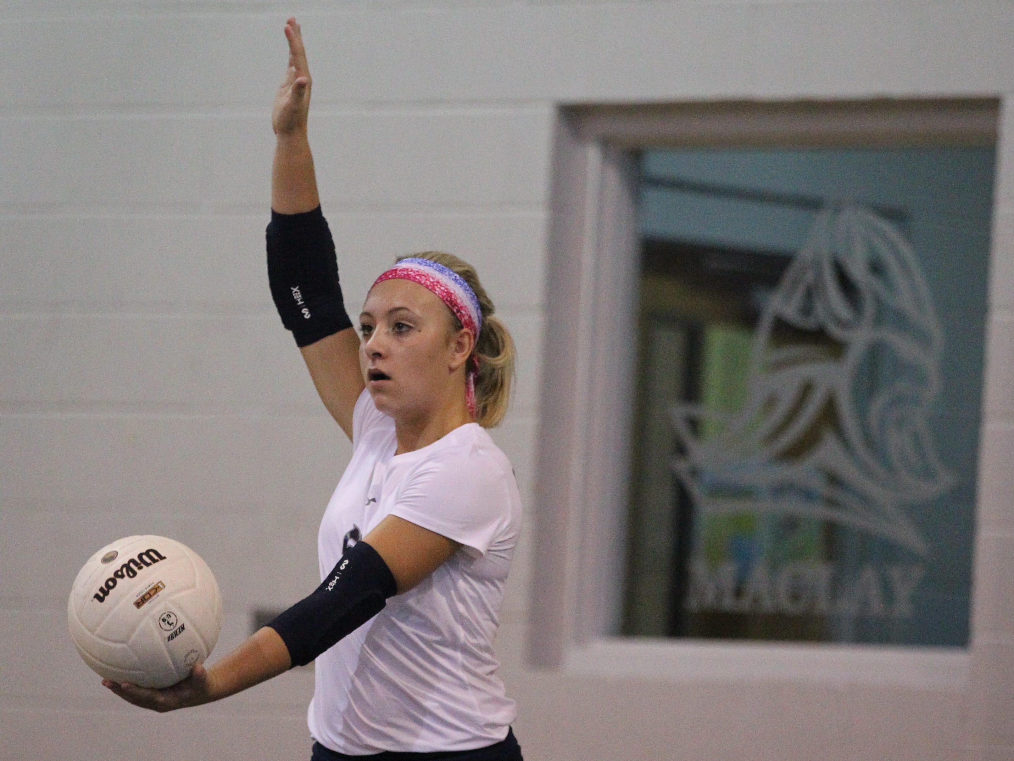 Maclay's Addyson Lewis serves as Aucilla Christian plays at Maclay in a high school volleyball game on Thursday, Sept. 20, 2018.