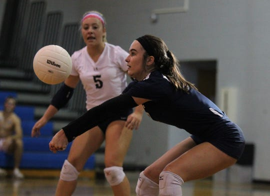 Maclay's Abby Watson digs a ball as Aucilla Christian plays at Maclay in a high school volleyball game on Thursday, Sept. 20, 2018.