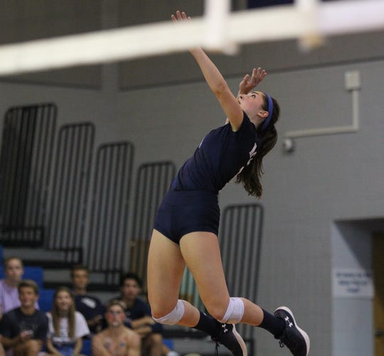 Maclay's Samantha Miles goes for a kill as Aucilla Christian plays at Maclay in a high school volleyball game on Thursday, Sept. 20, 2018.