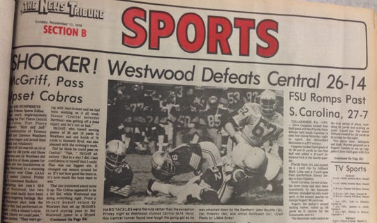 Fort Pierce Central was 7-1 and ranked No. 9 in Class 4A in 1979, but that didn't stop Fort Pierce Westwood from pulling off a 26-14 upset for its first Showdown win.