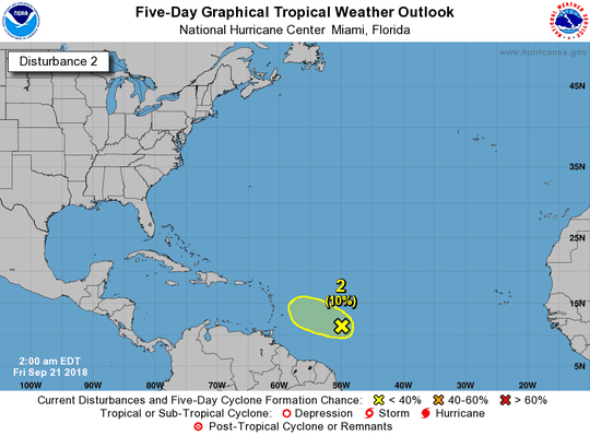 Disturbance 2 has a 10 percent chance of formation over the next few days.