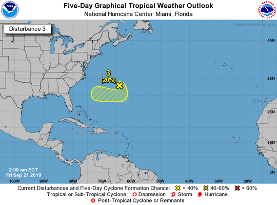 Disturbance 3 has a 20 percent chance of formation over the next few days.