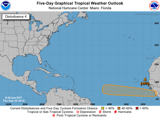 A tropical wave now has a 40 percent chance of developing as of 8 p.m. Thursday, Sept. 20, 2018.