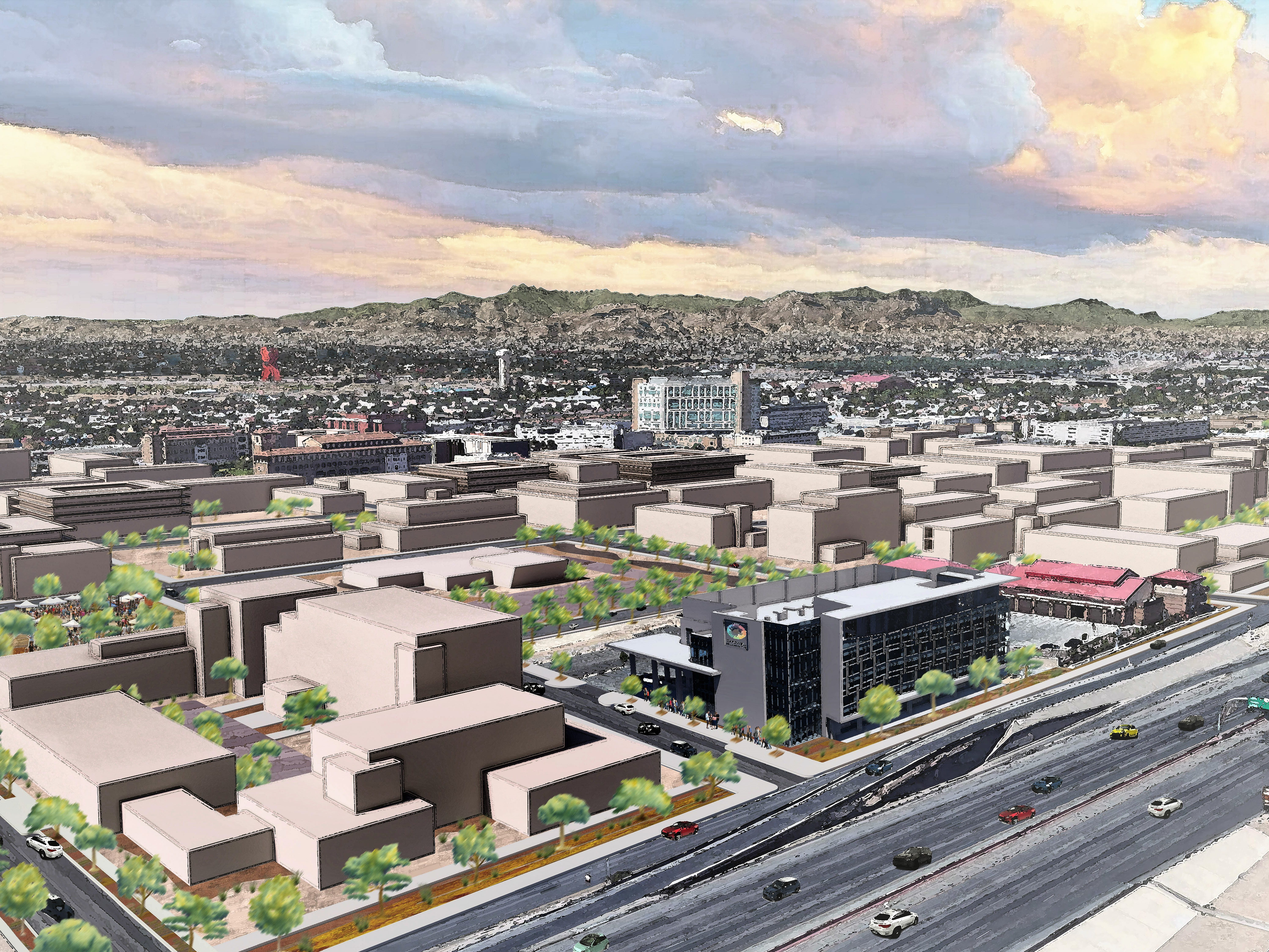A conceptual rendering of how many buildings could make up the Medical Center of the Americas campus about 50 years in the future. The existing Caldwell Collaborative building is the gray building in the foreground, along Interstate 10 in Central El Paso.