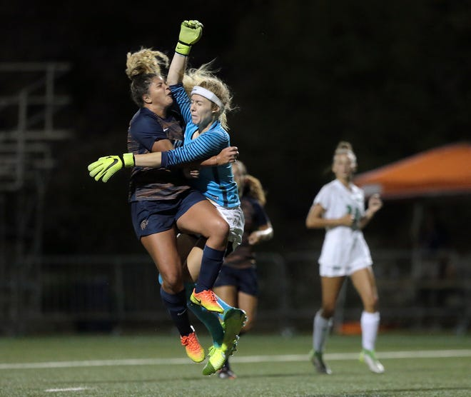 UTEP's Anna Jimmerson collides with the Marshall goal keeper in Thursday night's loss. She scored and was a standout in Sunday's win over New Mexico State.
