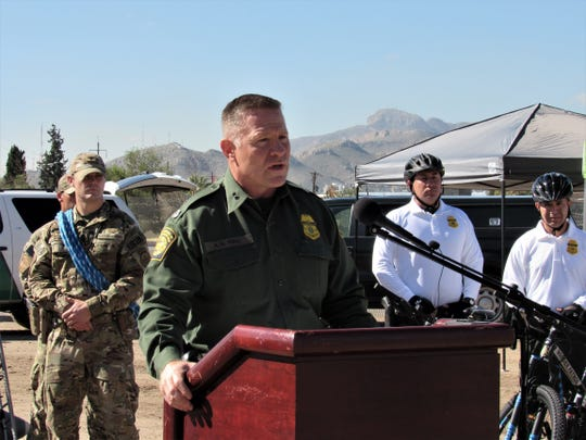 Border Patrol El Paso Sector Chief Patrol Agent Aaron A. Hull on Friday announces at a news conference near the Chihuahuita neighborhood of El Paso that construction to replace fencing with a new 18-foot-high steel bollard wall will begin Saturday. The $22 million project is expected to be completed in April. The 4-mile section of wall will run from just west of the Paso Del Norte Bridge to the Fonseca Road area.