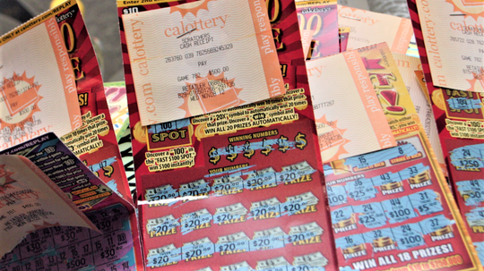 California Lottery scratcher tickets and receipts.