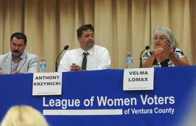 Tomas Luna, from left, Anthony Krzywicki and Velma Lomax participate in the the League of Women Voters candidate forum for the Ventura Unified School District Area 1. The event was held Thursday evening at DeAnza Academy of Technology & The Arts.