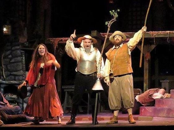 """Laura Dekkers plays Aldonza, Scott White plays Don Quixote and Adam Womack plays Sancho Panza in Ojai Performing Arts Theater's """"Man of La Mancha,"""" which runs through Oct. 7."""