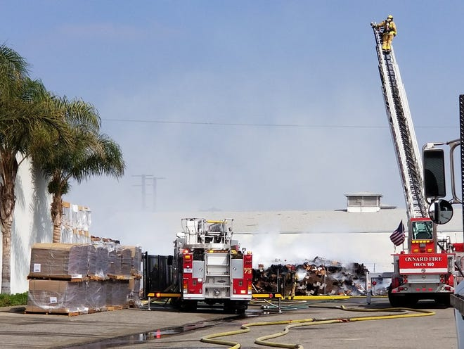 Crews were on scene of a fire at a citrus packing building in Oxnard Friday morning.