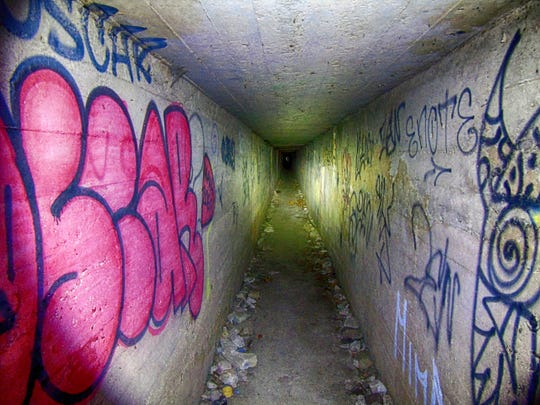 The abandoned tunnels in a WWI facility at Camp Bluefields are steeped in history, but can feel a little lonely so this hike is best done with a friend or two.