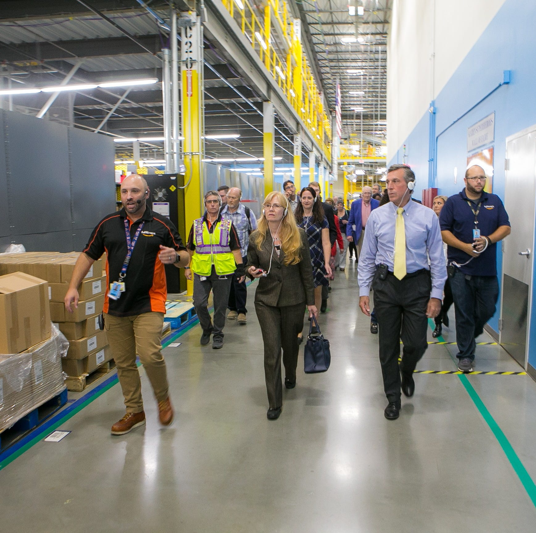 Amazon's Made-On-Demand book facility highlights tour of fulfillment center