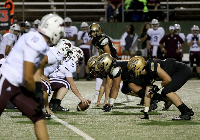 Rider's defense lines up against Brownwood Thursday, Sept. 20, 2018, at Memorial Stadium in Wichita Falls.