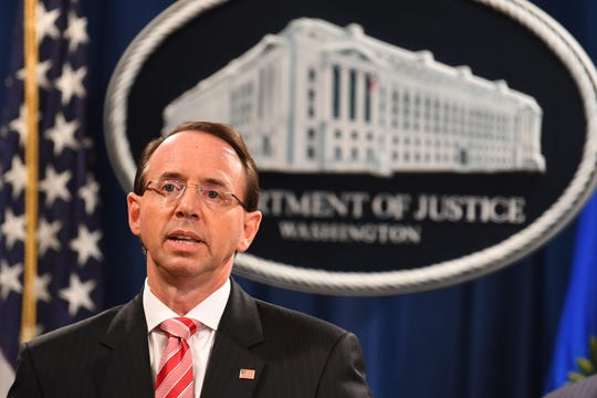 Deputy Attorney General Rod Rosenstein announced the grand jury indictment of 12 Russian intelligence officers for hacking offenses related to 2016 elections on July 13, 2018, in Washington, D.C.