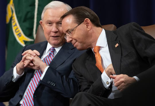 US Attorney General Jeff Sessions and Deputy Attorney General Rod Rosenstein attend the Second Annual Attorney General's Award for Distinguished Service in Policing at the Department of Justice in Washington, D.C., Sept. 18, 2018.