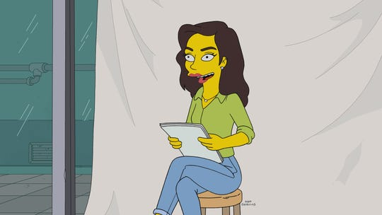 "This exclusive art shows Gal Gadot's ""Simpsons"" makeover. The ""Wonder Woman"" star plays herself in the Season 30 premiere of the animated Fox hit."