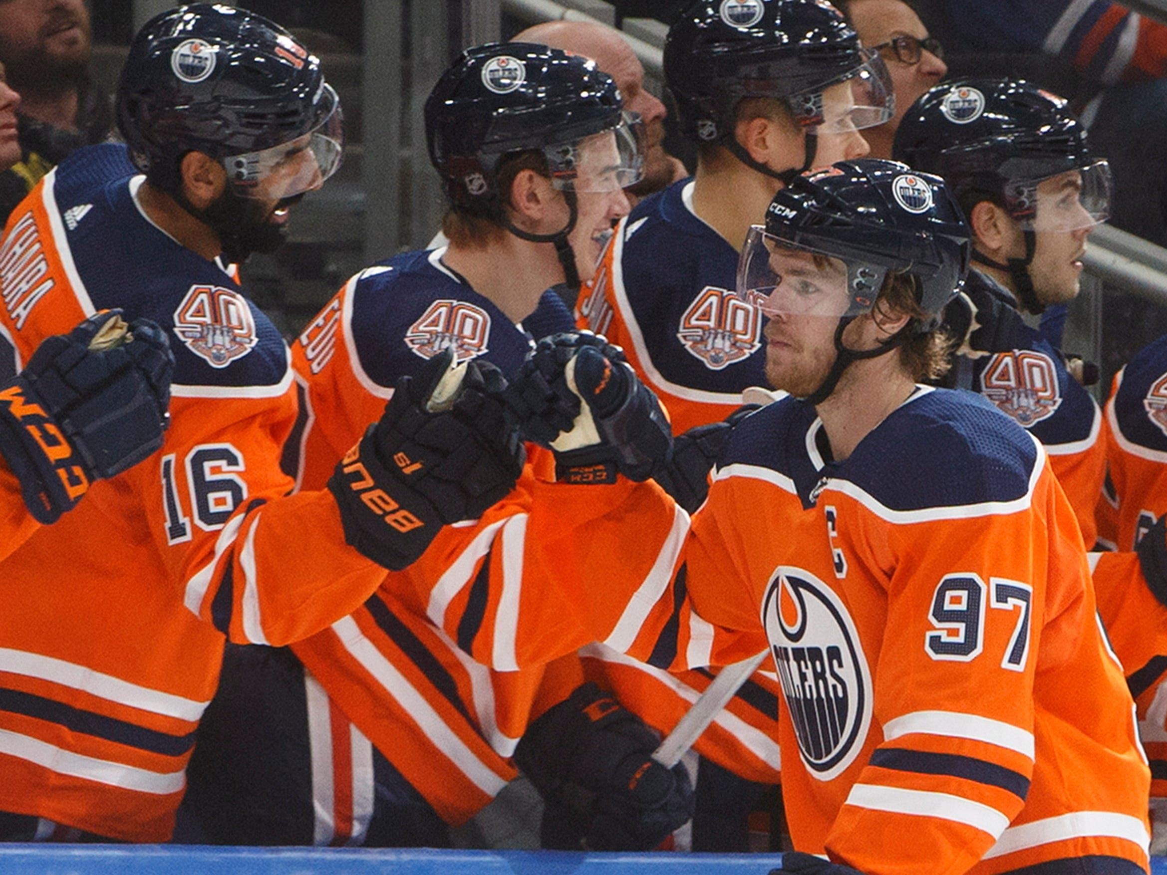 Sept. 20: Edmonton Oilers star Connor McDavid (97) celebrates a third-period goal against the Winnipeg Jets. He added three assists in the 7-3 win.