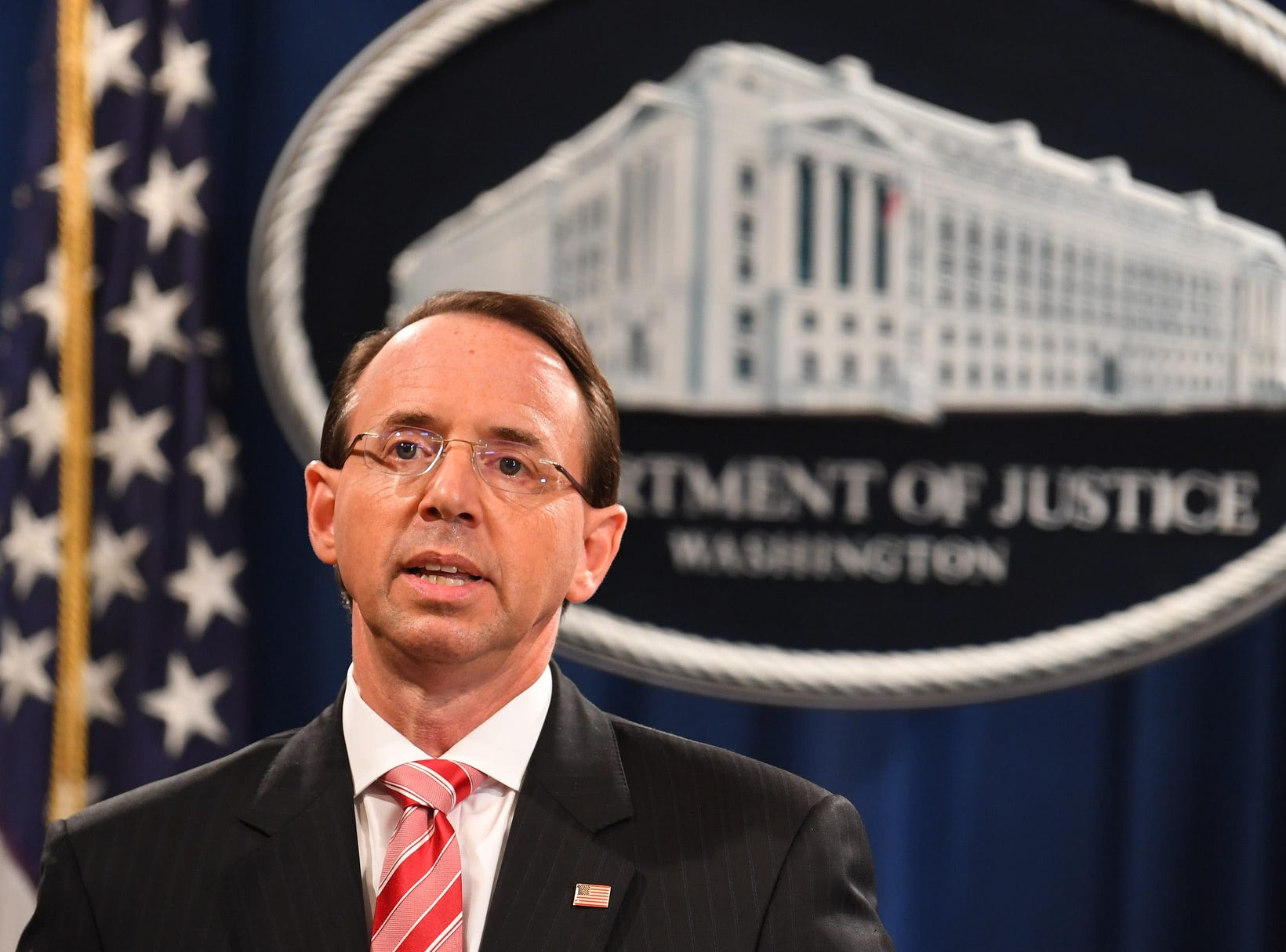 Deputy Attorney General Rod Rosenstein announced the grand jury indictment of 12 Russian intelligence officers for hacking offenses related to 2016 elections on July 13, 2018.