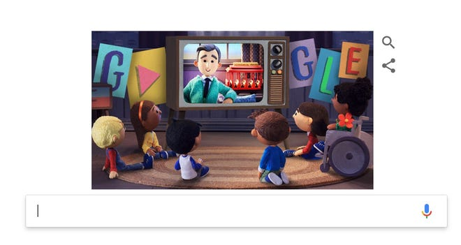 A screenshot of Google's home page featuring a tribute to children's TV icon Fred Rogers, also known as Mister Rogers.