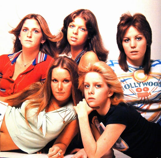 Joan Jett started her musical career with The Runaways at age 15. Back from left, Sandy West, Jackie Fox and Joan Jett. Front from left, Lita Ford and Cheri Currie are seen in this 1970 photo.