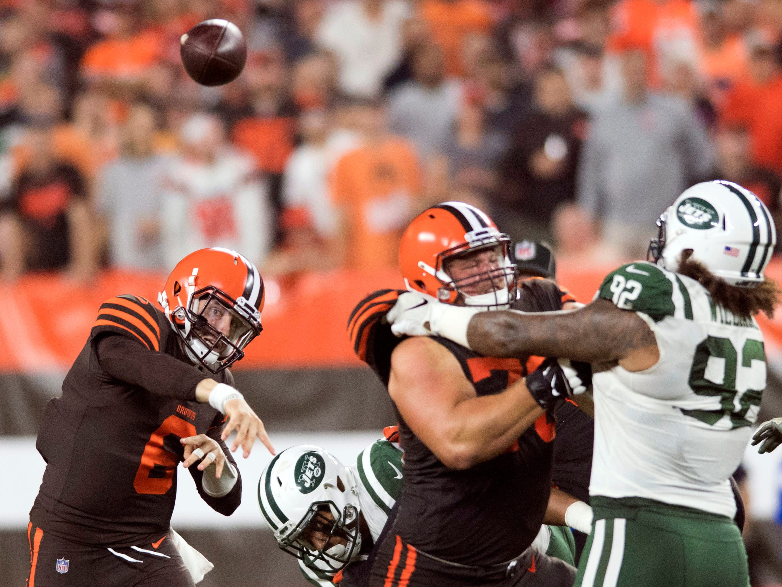 Cleveland Browns quarterback Baker Mayfield throws a pass during the first half against the New York Jets at FirstEnergy Stadium.