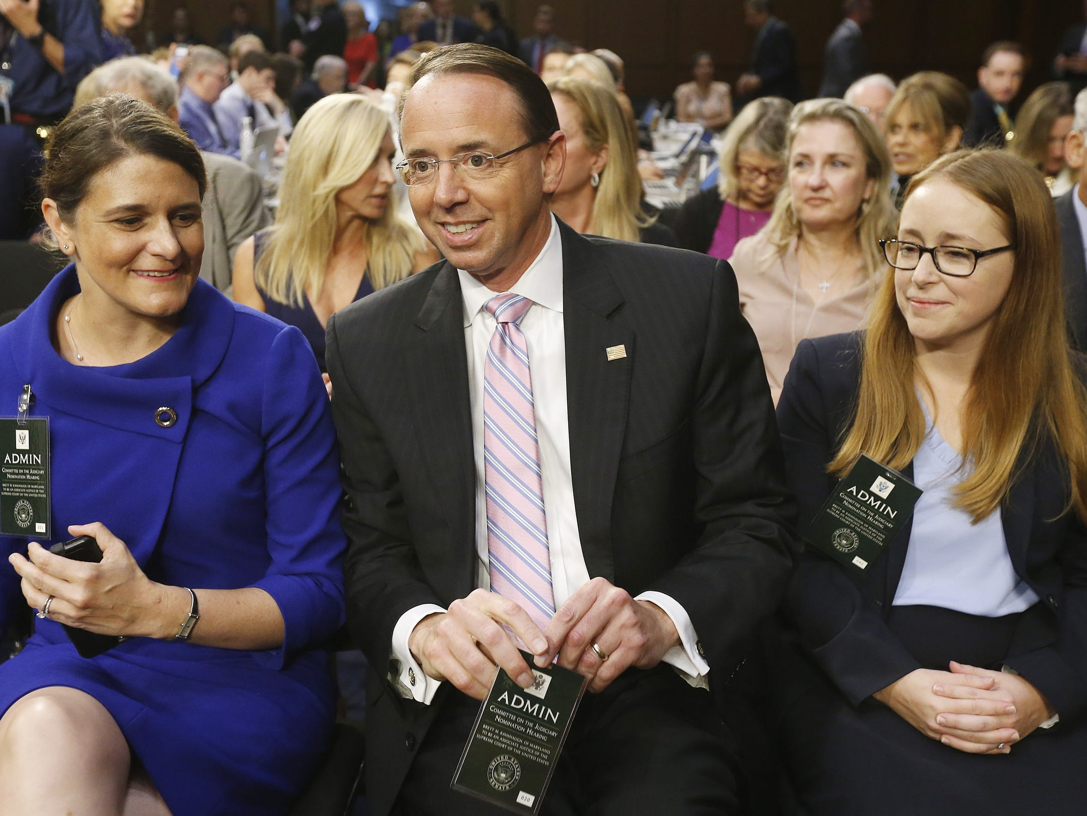 US Deputy Attorney General Rod Rosenstein (C) arrives for Circuit judge Brett Kavanaugh's Senate confirmation hearing to be an Associate Justice of the Supreme Court of the United States on Sept. 4, 2018.