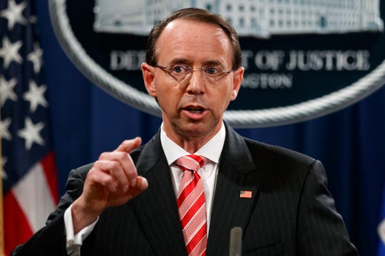 Deputy Attorney General Rod Rosenstein speaks during a news conference at the Department of Justice in Washington on July 13, 2018.