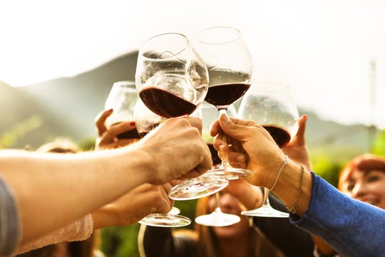 Relax with wine and friends at the harvest moon overhead on Saturday at Alstede Farms.