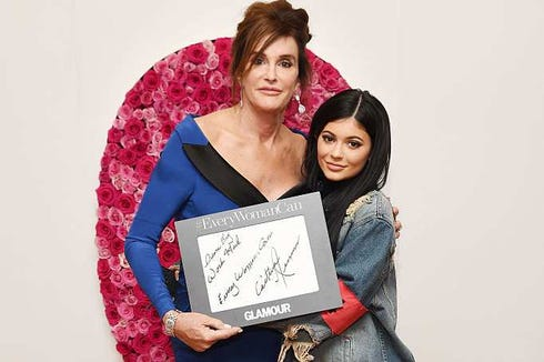 Caitlyn Jenner (L) and Kylie Jenner pose for a photo at the backstage inspiration wall at the 2015 Glamour Women of the Year Awards at Carnegie Hall on November 2015 in New York City.