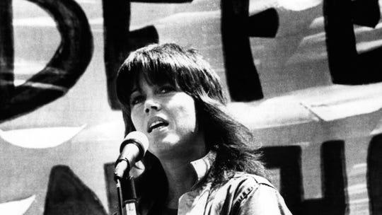 Jane Fonda speaks at an anti-war rally in San Francisco in 1972.