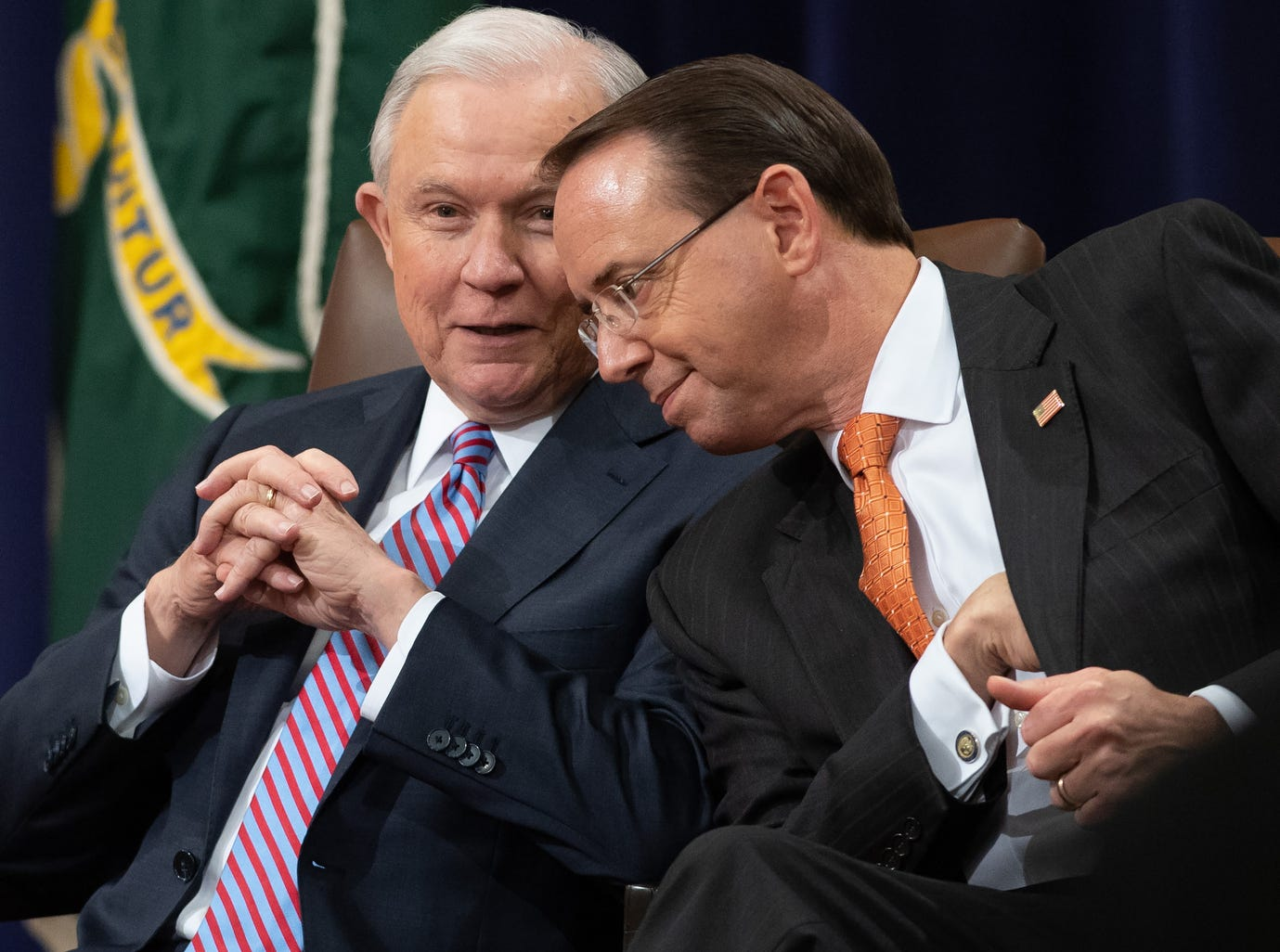 US Attorney General Jeff Sessions, left, and Deputy Attorney General Rod Rosenstein attend the Second Annual Attorney General's Award for Distinguished Service in Policing at the Department of Justice, Sept. 18, 2018. Both are Republicans but have faced the wrath of President Trump as they discharge their duties while Special Council Robert Mueller continues his investigation into Russian medaling in the US election.