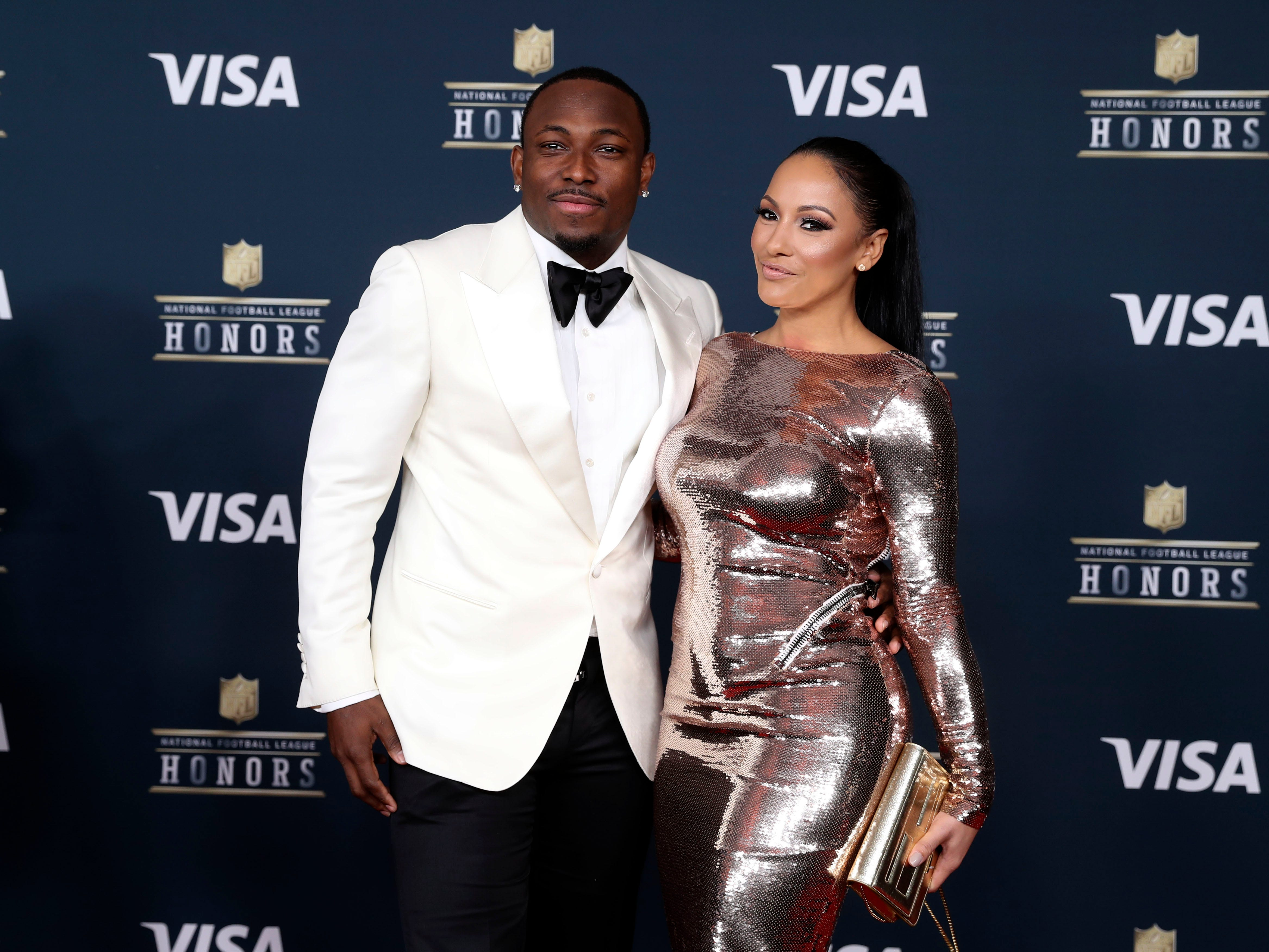 Buffalo Bills running back LeSean McCoy and fashion designer Delicia Cordon on the red carpet prior to the 6th Annual NFL Honors at Wortham Theater in 2017.